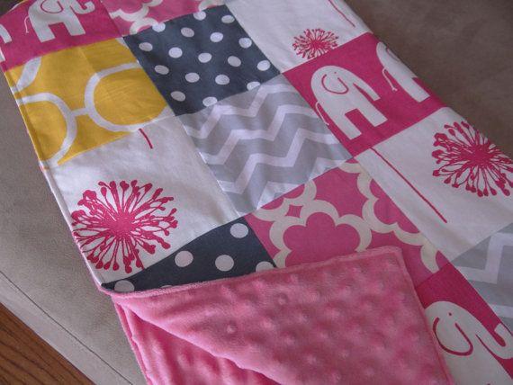 Modern Handmade Patchwork Baby Blanket  Hot pink by OnlySimplyMade, $80.00