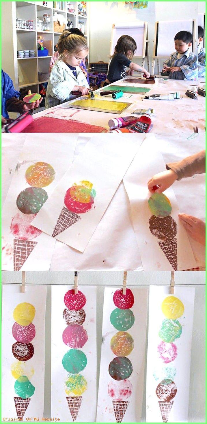 Kunst Grundschule - Ice cream Art - Easy Printmaking for Kids #kunstgrundschule ... -  Kunst Grundschule – Ice cream Art – Easy Printmaking for Kids  # art elementary school spring # - #art #Cream #easy #Grundschule #ice #Kids #Kunst #kunstgrundschule #Printmaking #Sculpture #WeddingPhotography