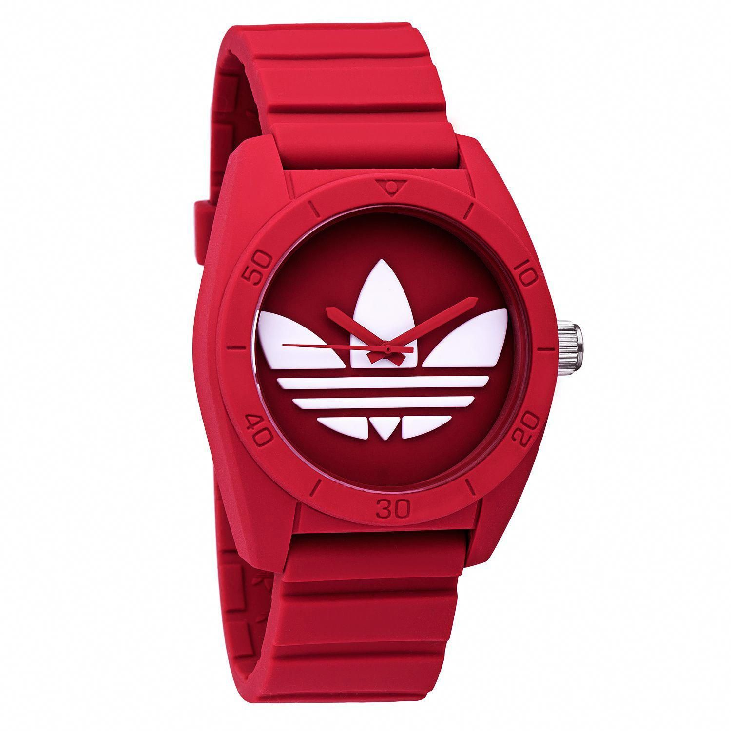 Ardilla casamentero varonil  This men's watch sports the Adidas symbol in white on a red dial. The red  rubber strap completes the look. Case: Pla… | Adidas watch, Sport watches,  Stylish watches