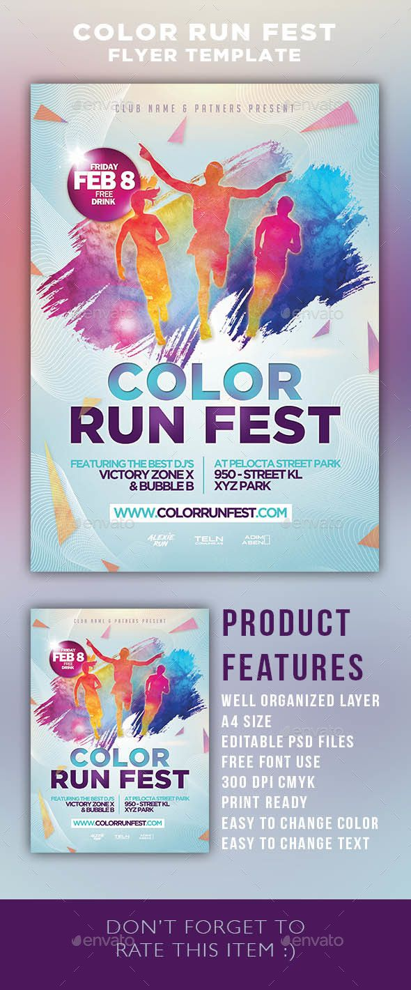 color run festival flyer template psd template triathlon