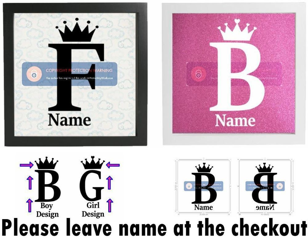 Details About Initial  Name Sticker Vinyl Sticker For Box Frame - Personalised vinyl stickers