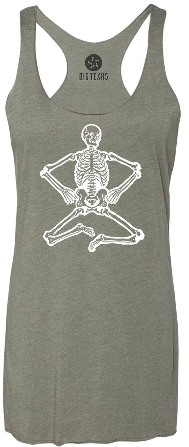 Shaking Skeleton (White) Tri-Blend Racerback Tank-Top