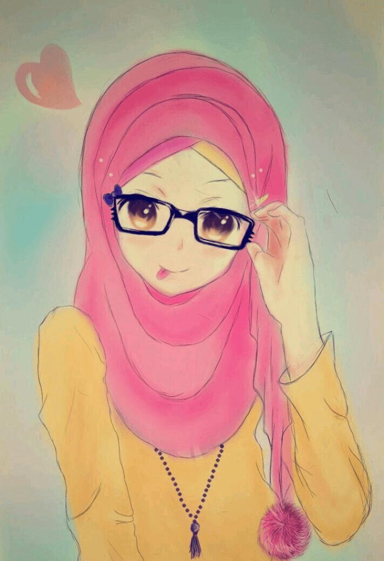 300 Gambar Kartun Muslimah Bercadar, Cantik, Sedih, Keren