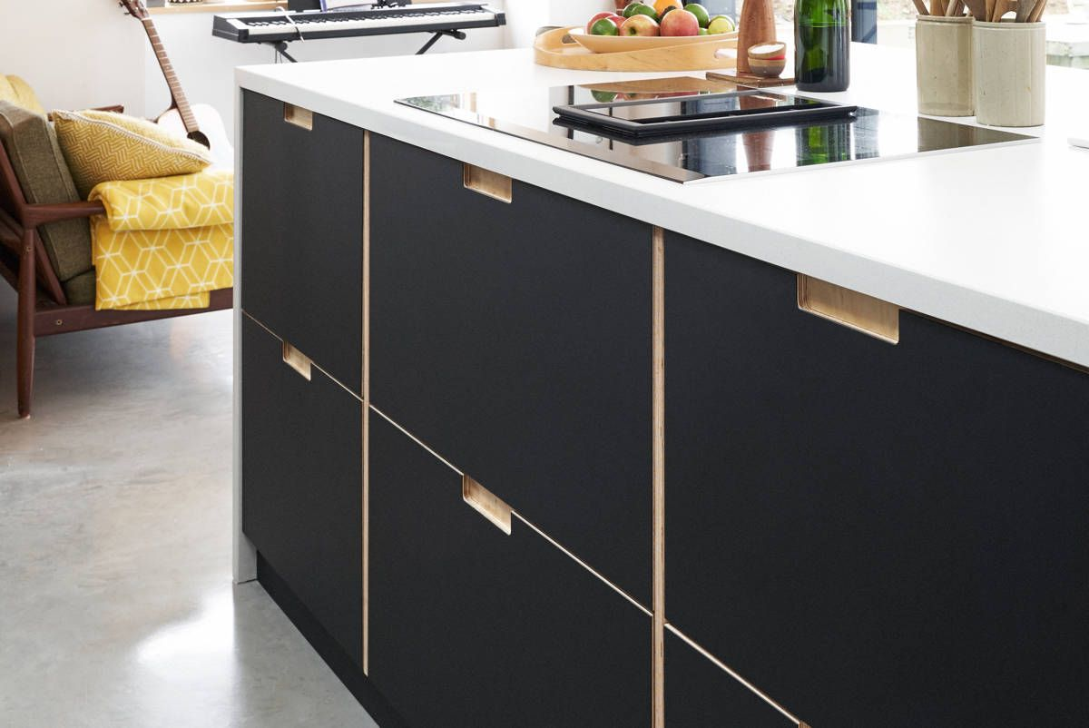 Fenix and birch kitchen with spacer panels by Plykea. Ikea ...
