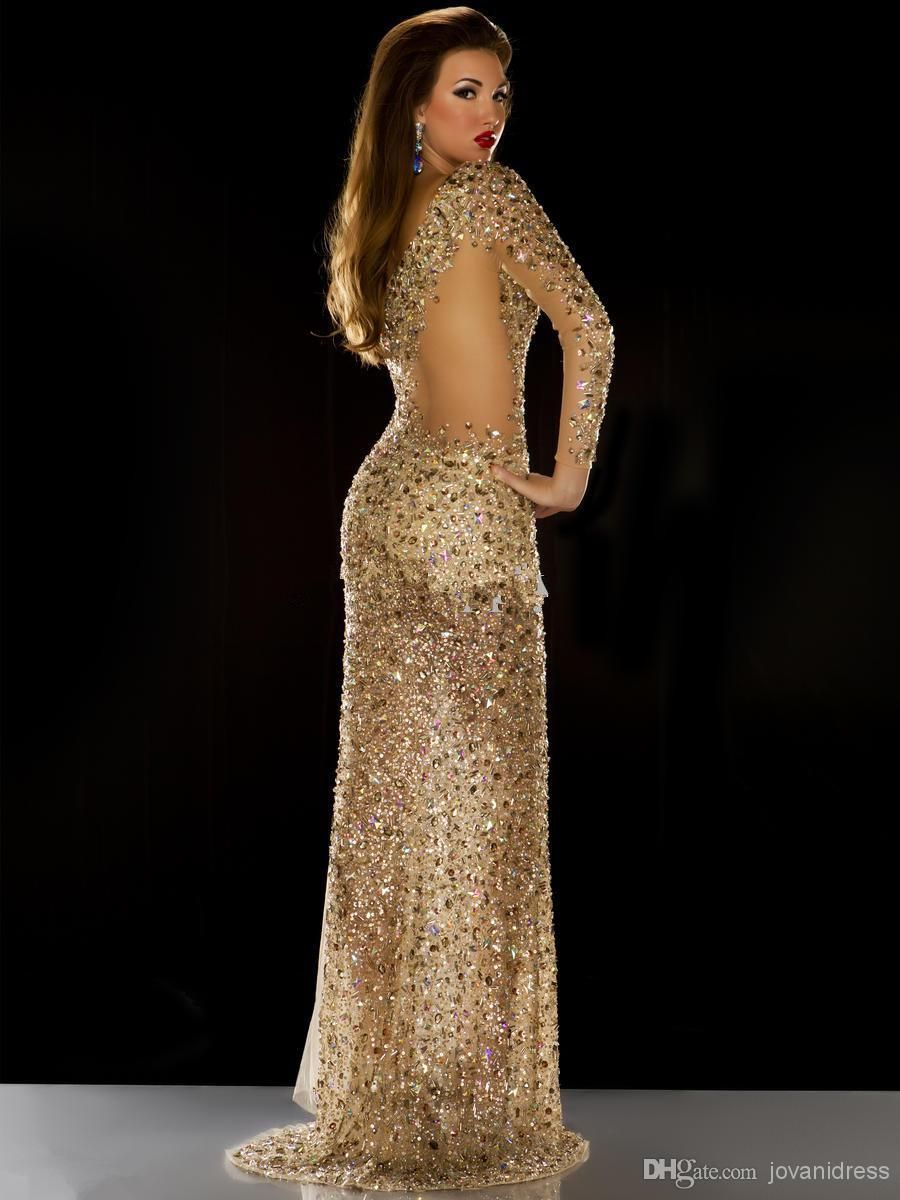 long sleeves gold rhinestones formal pageant gowns with