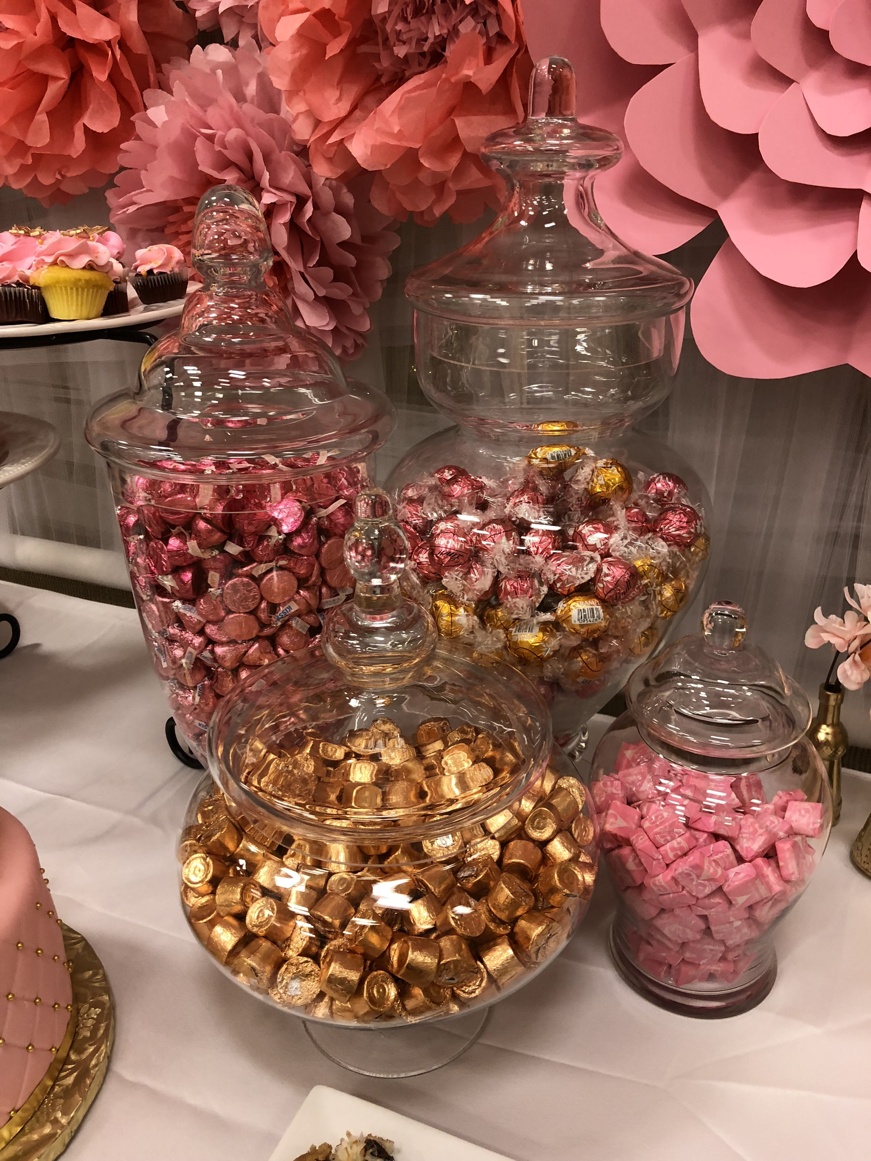 Candy Buffet Dessert Table Pink And Gold Birthday Party Decor Baby Shower Dessert Table Baby Shower Treats Wedding Candy