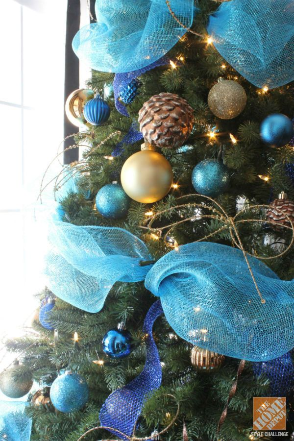 Lovely Christmas Tree With Tulle Garland Part - 10: Christmas Tree Decorating Ideas: Turquoise, Blue U0026 Bronze
