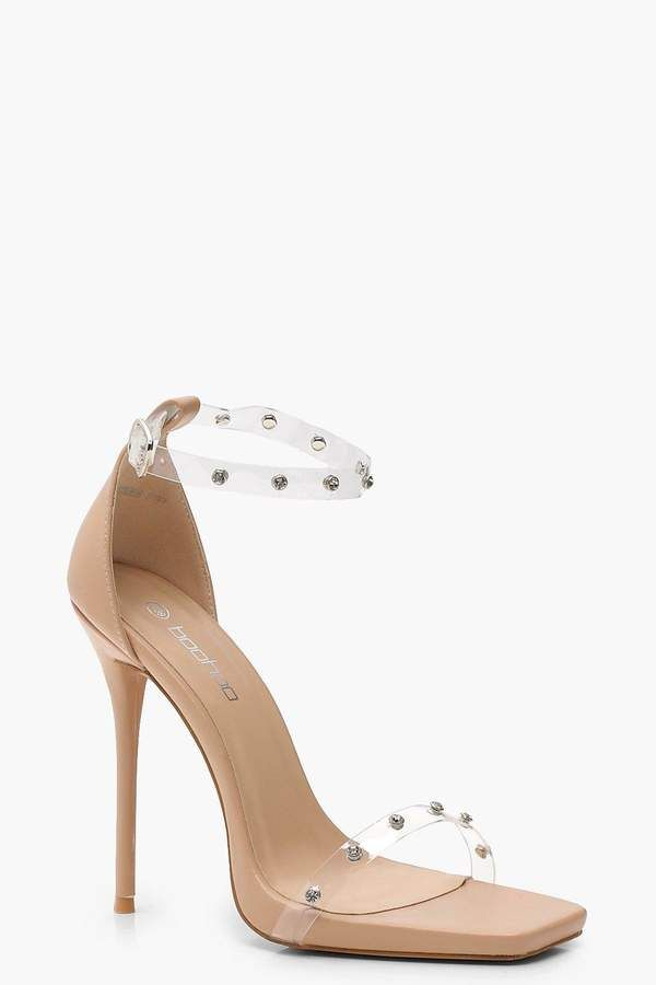 ad125fd8ae Embellished Clear Strap 2 Part Heels in 2019 | Products | Heels ...