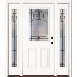 Feather River Doors 63 5 In X 81 625 In Rochester Patina 1 2 Lite Unfinished Smooth Left Hand Fiberglass Prehung Front Door With Sidelites 873190 3a4 Fiberglass Entry Doors Fiberglass Front Door Craftsman Front Doors