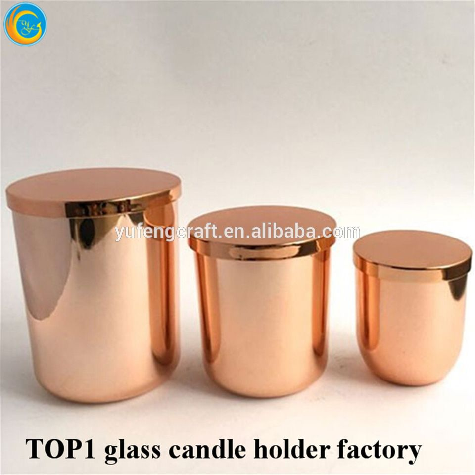 rose gold round bottom glass candle jar with rose gold metal lid