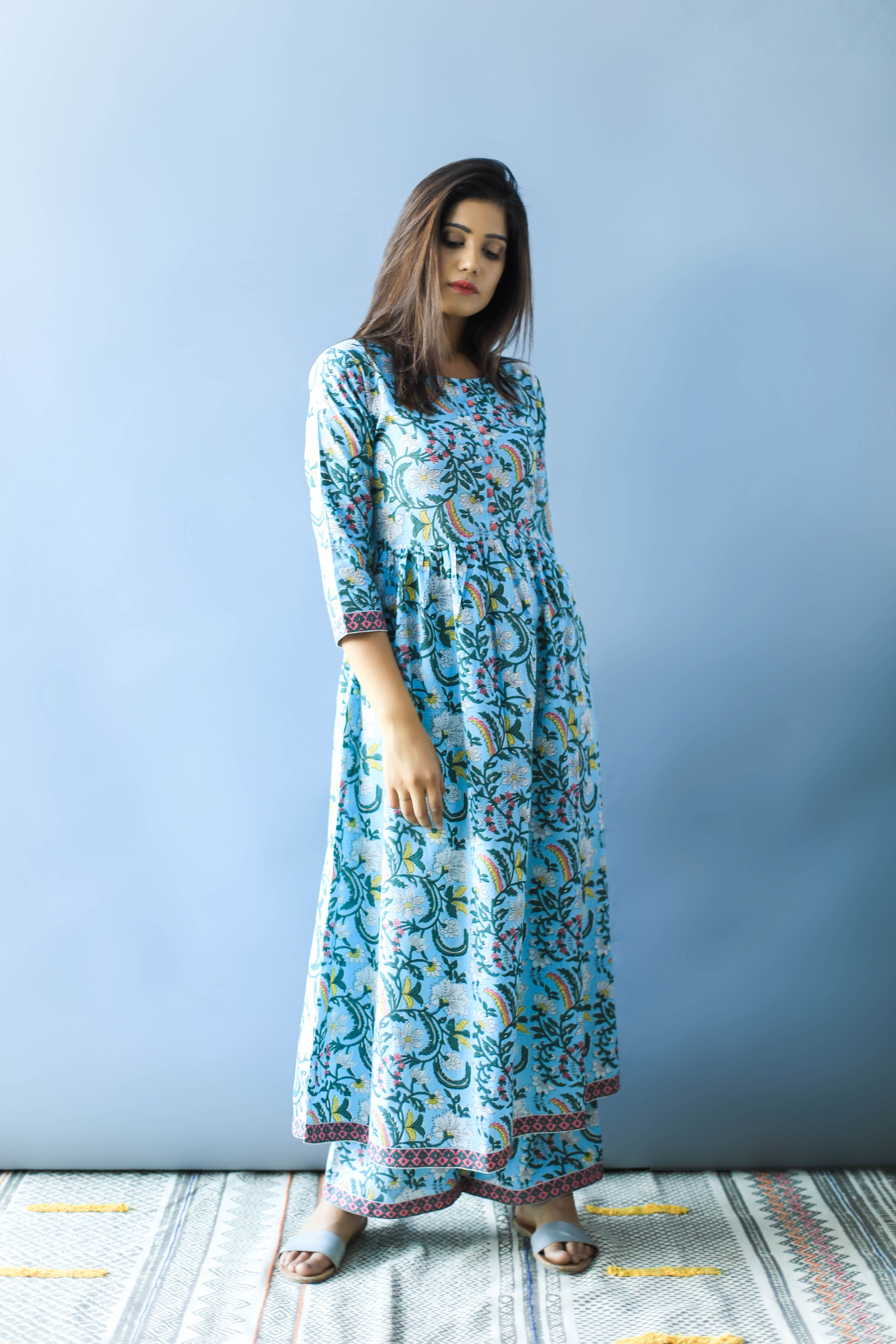 Summer Long Dress Block Print Kurti Set Casual Summer Dresses Summer Dresses Evening Outfits [ 6720 x 4480 Pixel ]