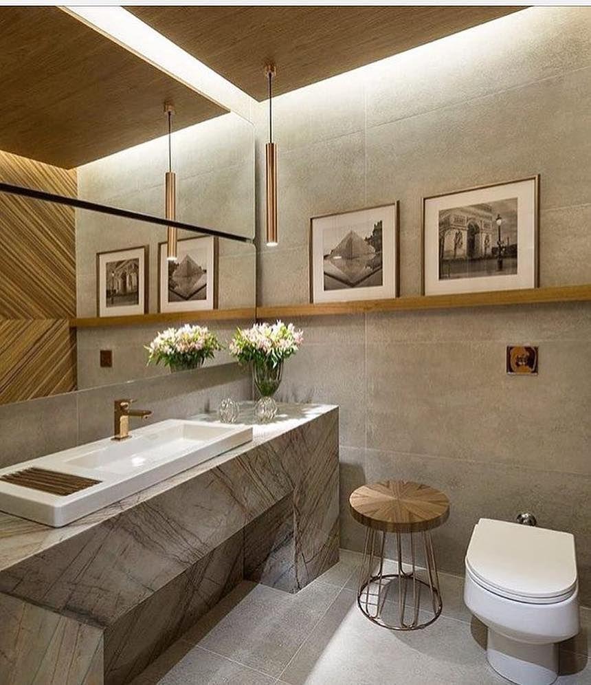33 Ideias Para Transformar Sua Casa Normal Em: Banheiro Moderno Com Cimento Queimado!📐Projeto: Alessandra