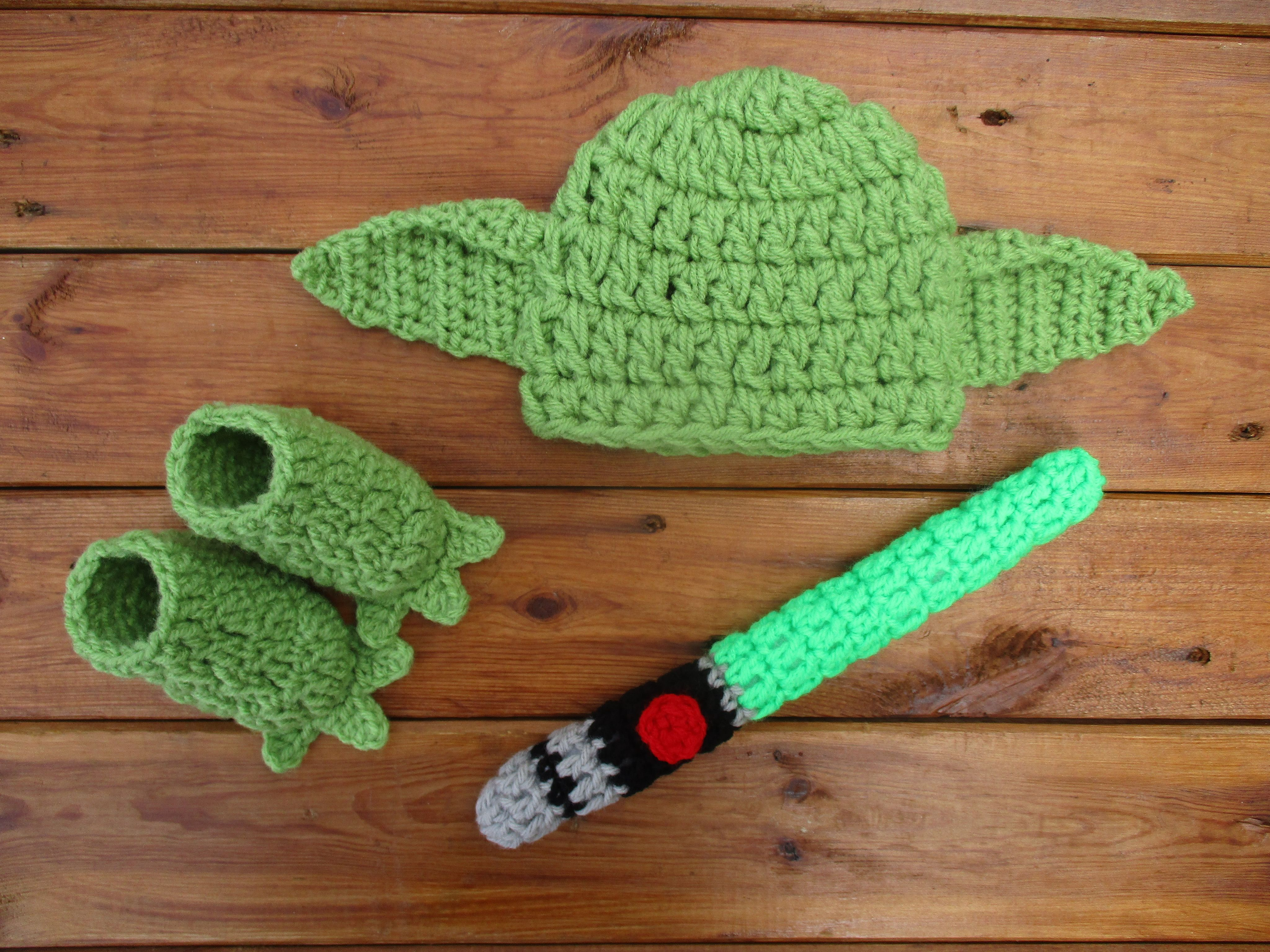 Baby Yoda Hat Booties And Lightsaber Set Newborn Photo Prop | Baby ...