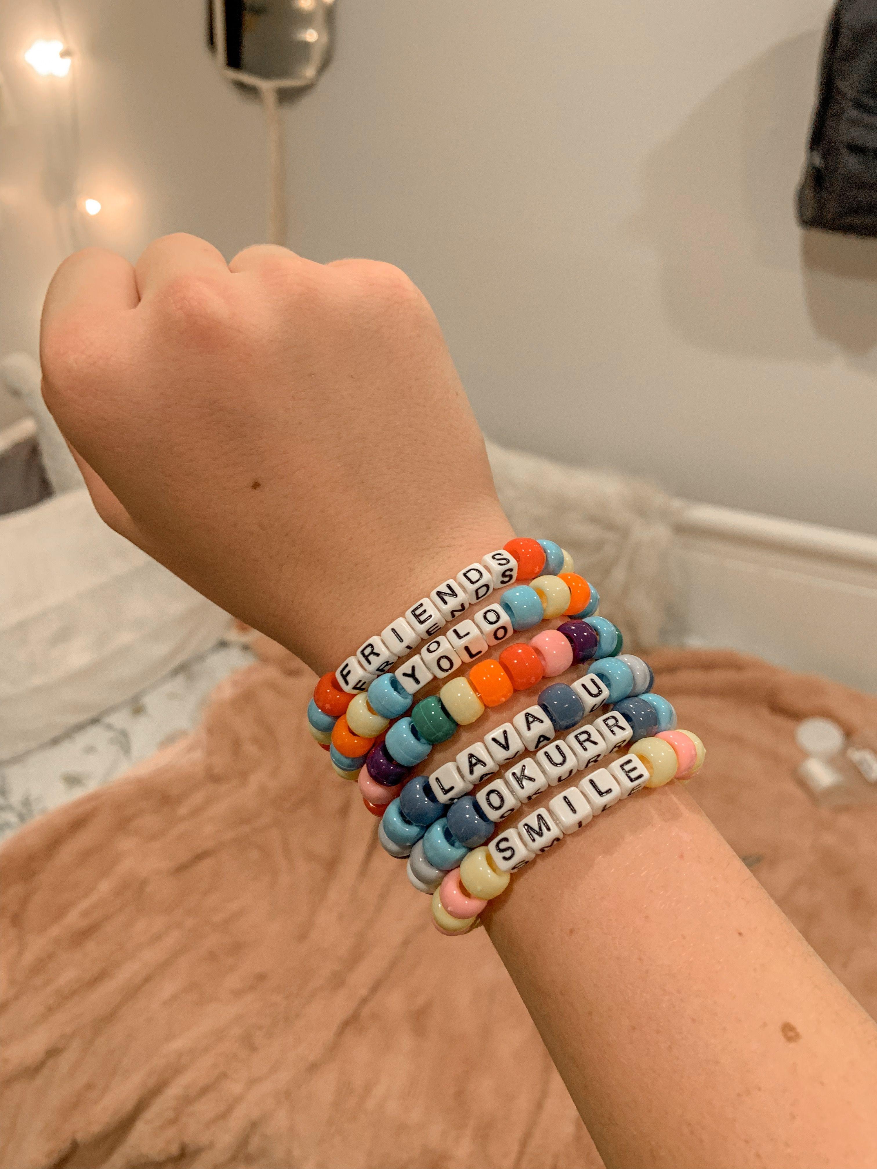 Kandi Bracelets, Friendship Bracelets, Camping Aesthetic, Pony Beads,  Scrunchies, Bracelet Tutorial