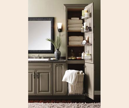 an organized bathroom helps with your morning routine getting you off to a fresh start linen cabinet includes a rollout hamper u0026 wire racks on