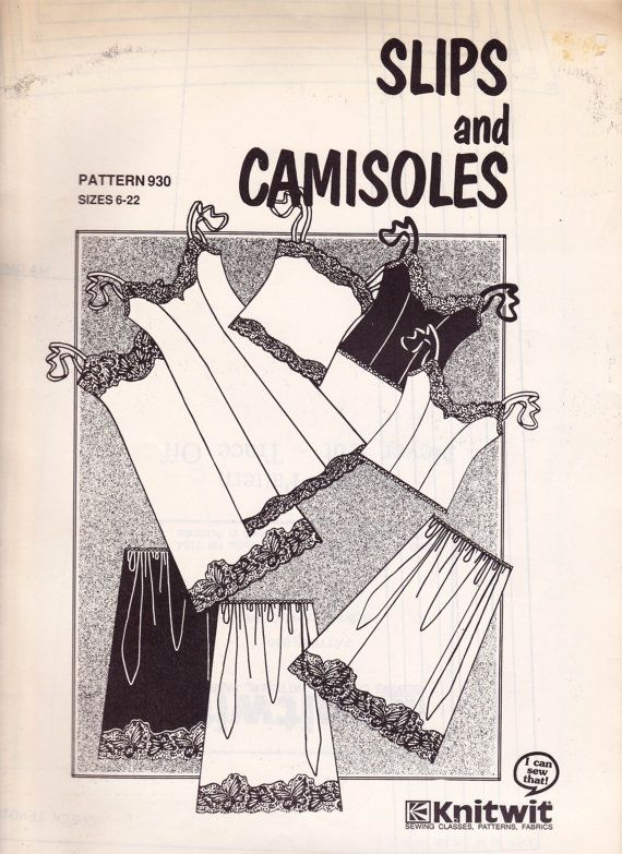 90s Slips and Camisoles Pattern Knitwit 930 Vintage Sewing Pattern ...