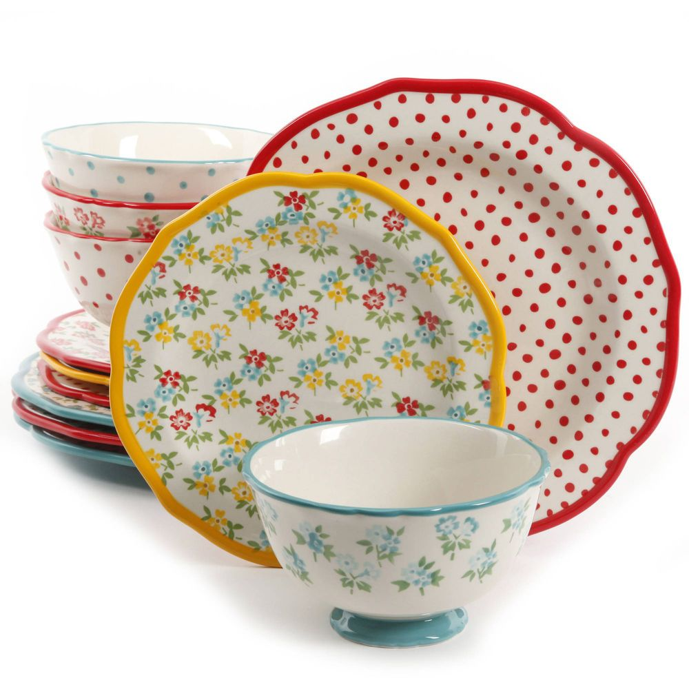 12 Pc Dinnerware Set The Pioneer Woman Timeless Floral And Retro