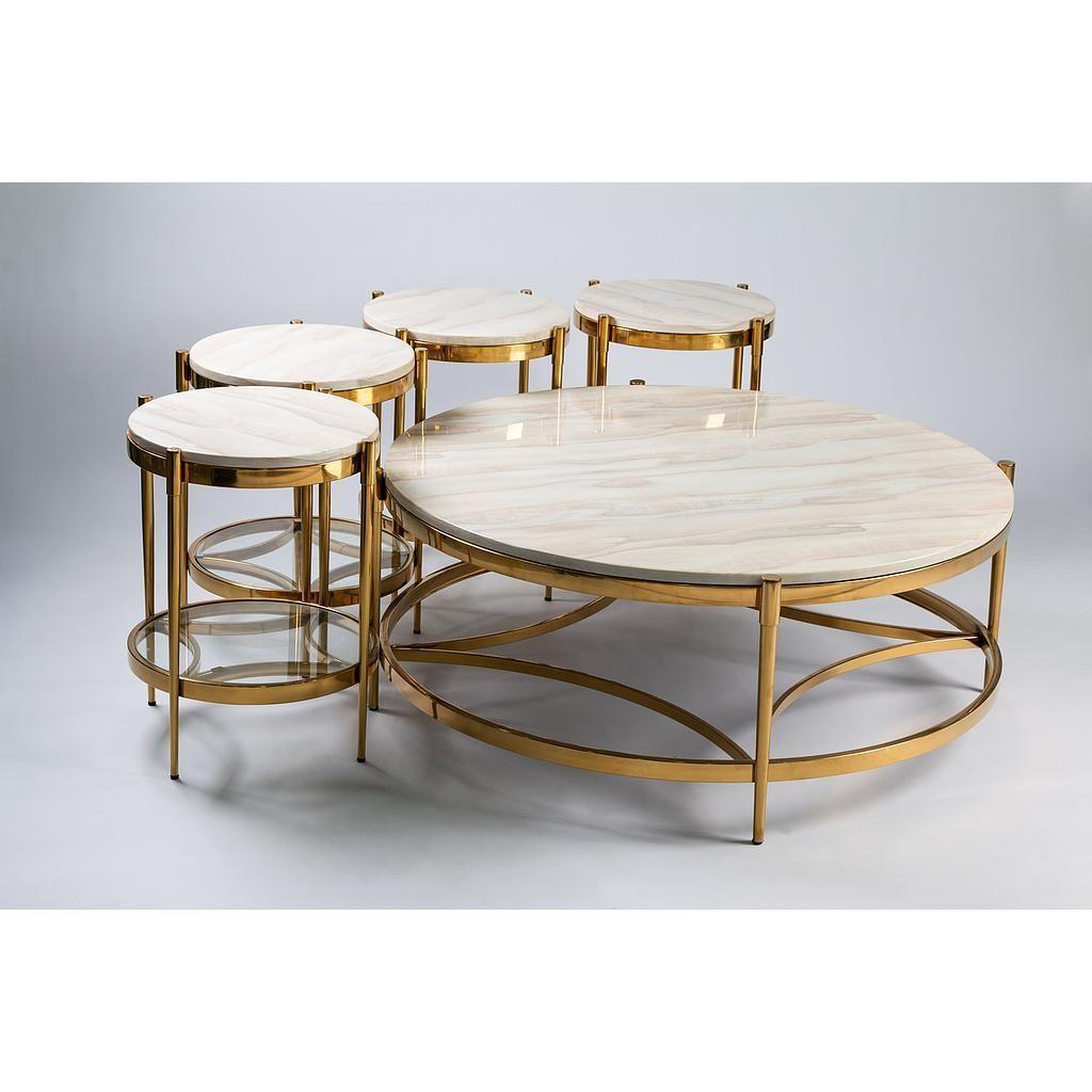 طقم طاولات Marble ذهبي Coffee Table Table Decor