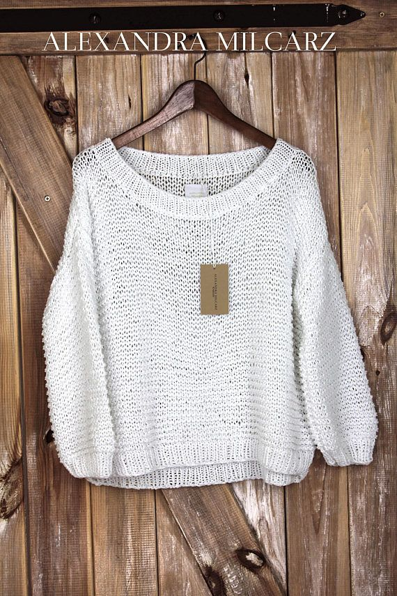 Chunky Cotton Sweater White Off Shoulder Sweater Handknitted | Ná ...