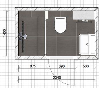 Deze badkamer heeft een afmeting van 2,34 x 1,40 meter. Een compacte ...