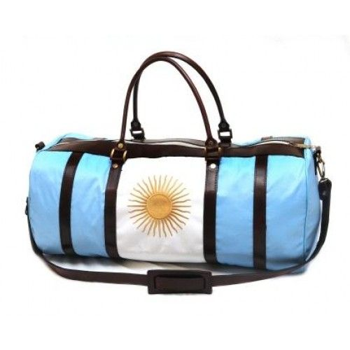 ba499dd0e650 The ideal Polo Kit Bag or Weekender Bag Made from Fine Leather and Canvas  This striking Argentine flag canvas and leather padded polo kit bag is
