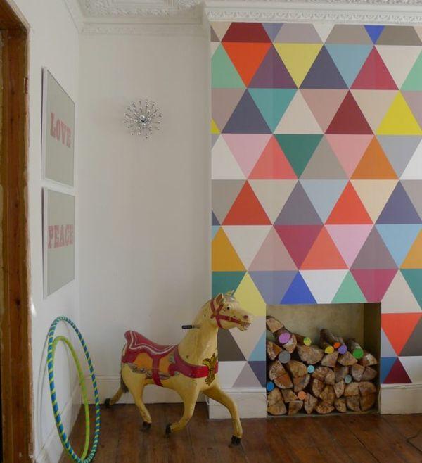 wohnzimmer wandgestaltung ideen tapetenmuster geometrische formen - tapetenmuster wohnzimmer modern