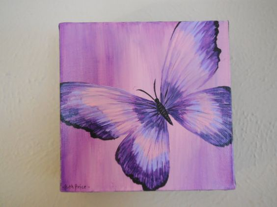 Original Purple Butterfly Painting On Canvas Art