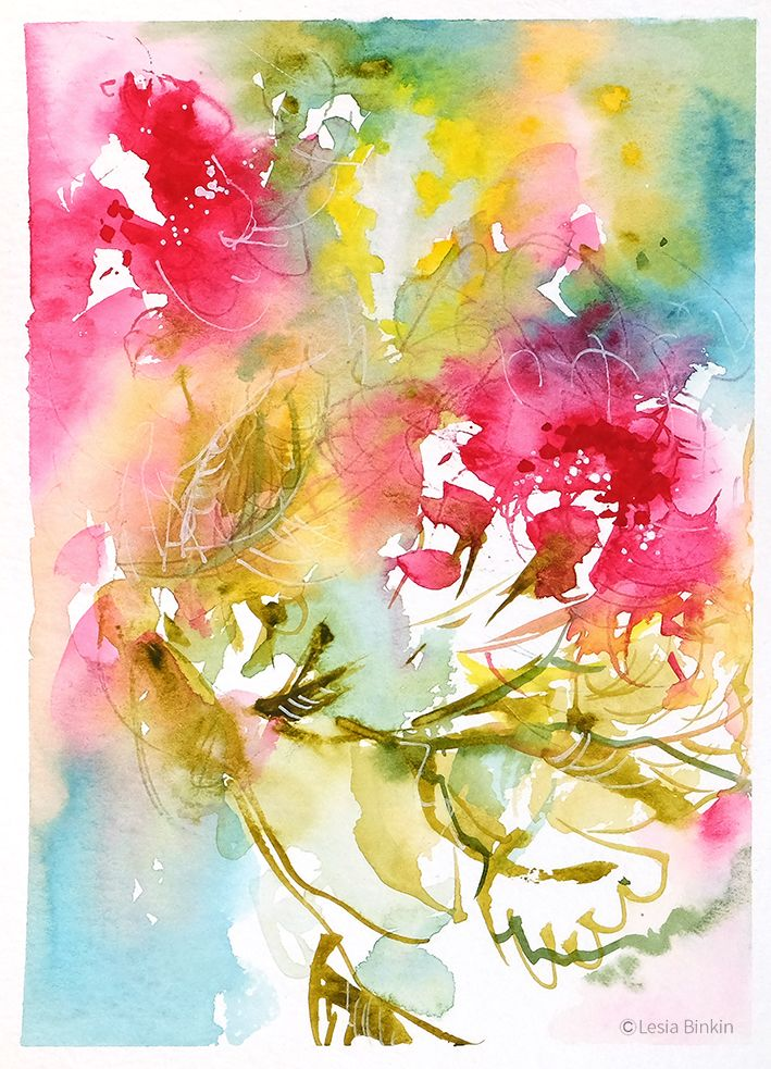 Sold Watercolor Abstract Flower Painting By Lesia Binkin