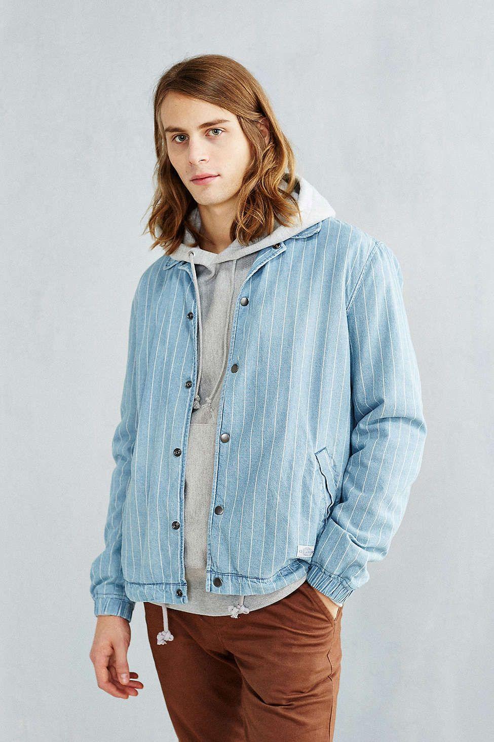 CPO Striped Denim Coach Jacket Mens clothing sale