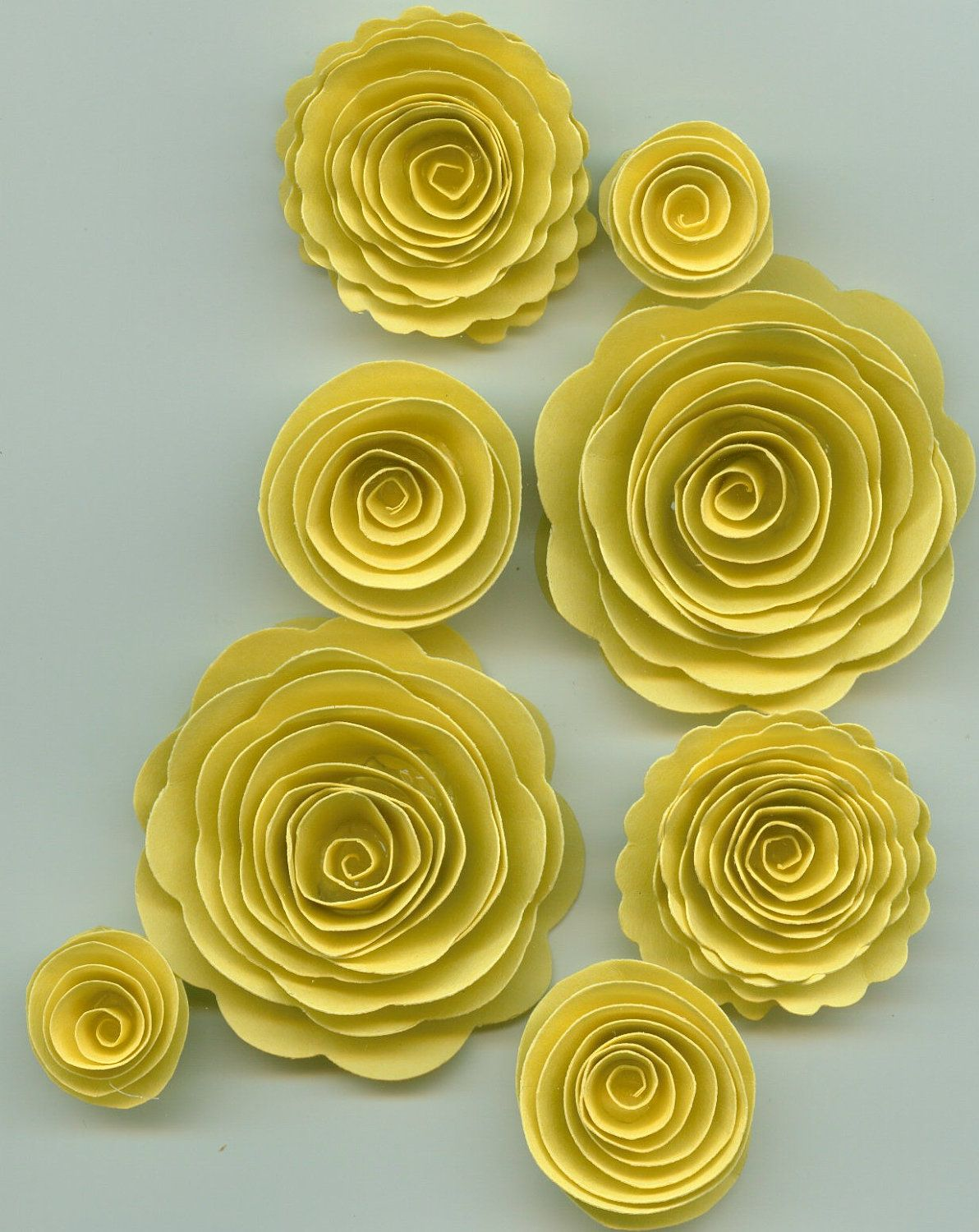 Pastel Yellow Rose Spiral Paper Flowers For Weddings Bouquets
