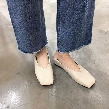 Square Heel Pure Color Slip On Flat Shoes For Women