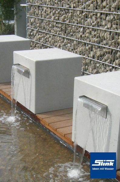 Garten-Wasserfall Leichtbeton-Kubus Gropius 45 Wasserspiel Garten