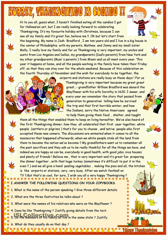 Workbooks thanksgiving reading comprehension worksheets middle school : Thanksgiving : reading comprehension | ESL worksheets of the day ...