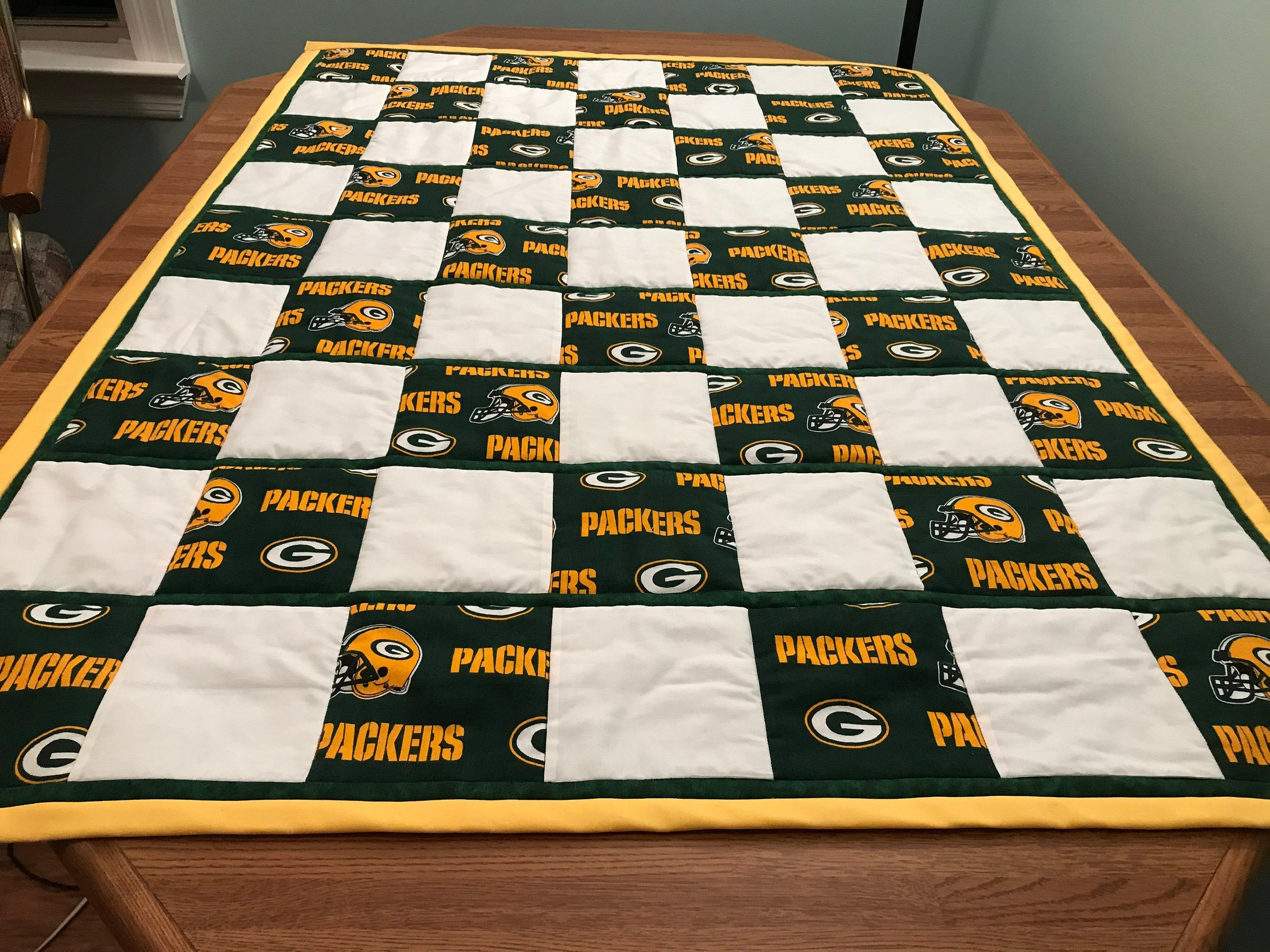 Green Bay Packer Signature Memory Quilt Memory Quilt Sports Quilts Football Quilt
