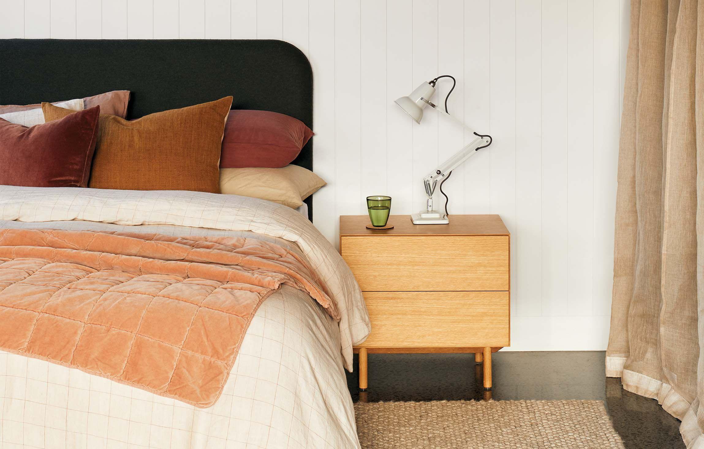 Peachy, textured bedroom for winter Winter bedroom