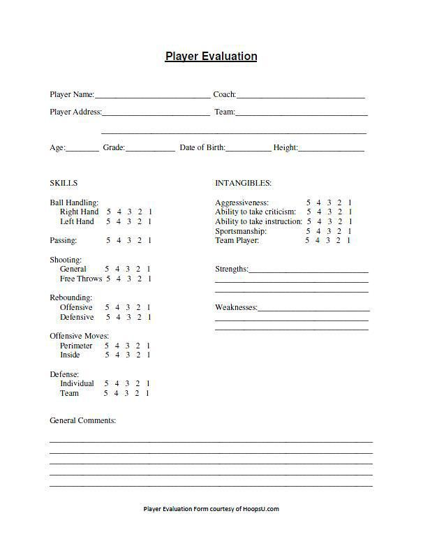 12 Free Basketball Evaluation Forms Evaluation Form Free Basketball Basketball Workouts