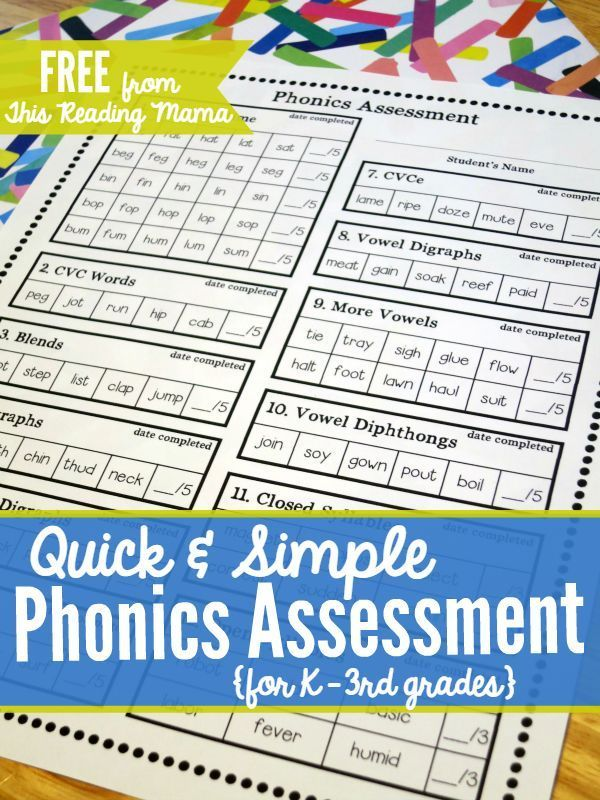 FREE Phonics Assessment for K-3rd grades Phonics, Students and - needs assessment