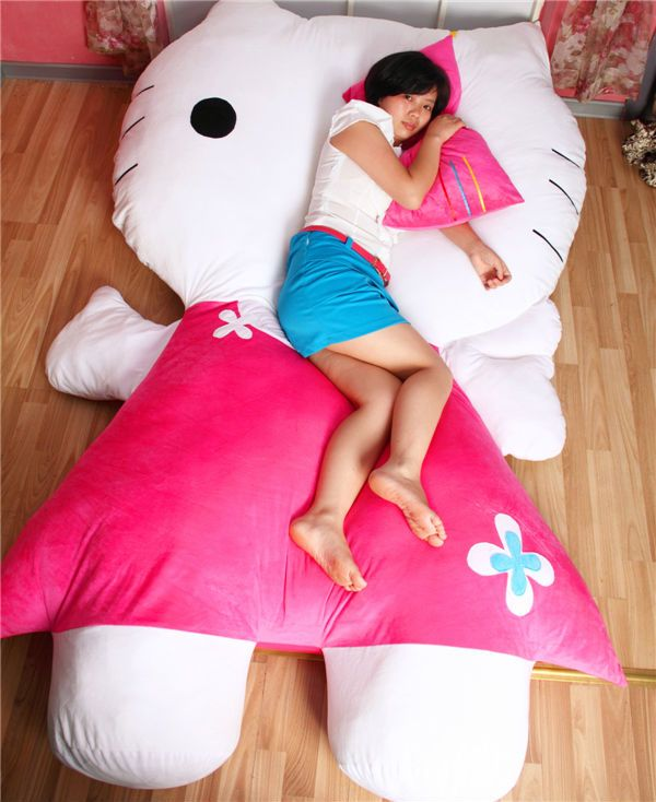 40f70a22a7 Huge Comfortable Hello Kitty Cute Cat Soft Cartoon Bed Sleeping Bag Pad  Filling Stuffed Plush Tatami Big Large Size Toys Doll US  388.00