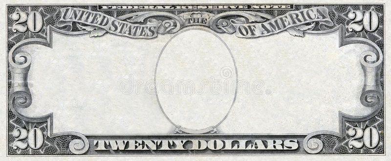 Dollar frame old twenty dollars empty frame isolated on