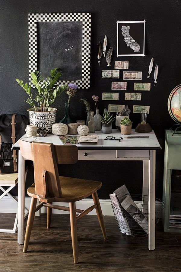 15 Home Offices Sure to Inspire Creativity | Design*Sponge - ll of the details on Paige Morse's desk in her mud room have a story, and she is always adding and re-curating the vignette as more pieces find their way into her home. She keeps a global outlook with a variety of foreign currencies taped to the wall!