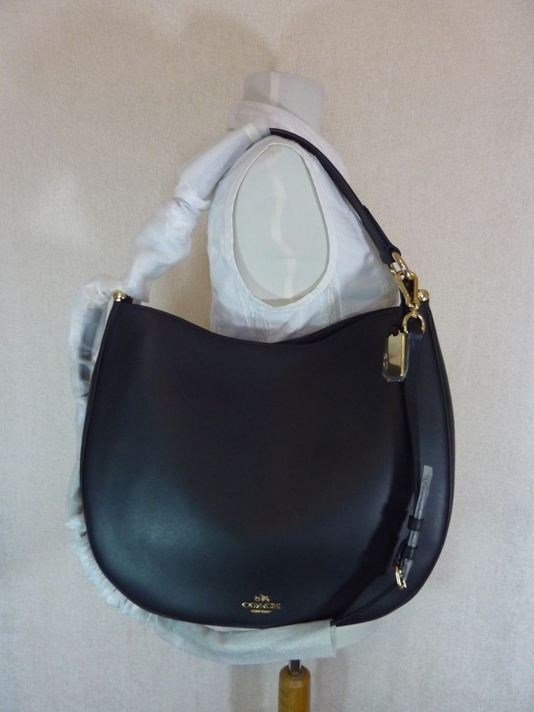 d91c5d932e2 buy popular c28ed 51bb8 NWT Coach Dark Navy Glove Tanned Leather Large Nomad  Hobo Bag 495 ...