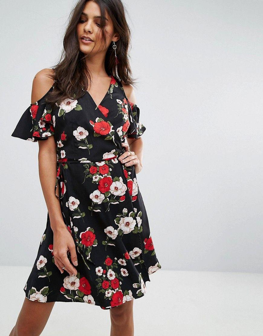 Boohoo Cold Shoulder Floral Wrap Dress Black Wrap Dress Floral Fashion Latest Fashion Clothes