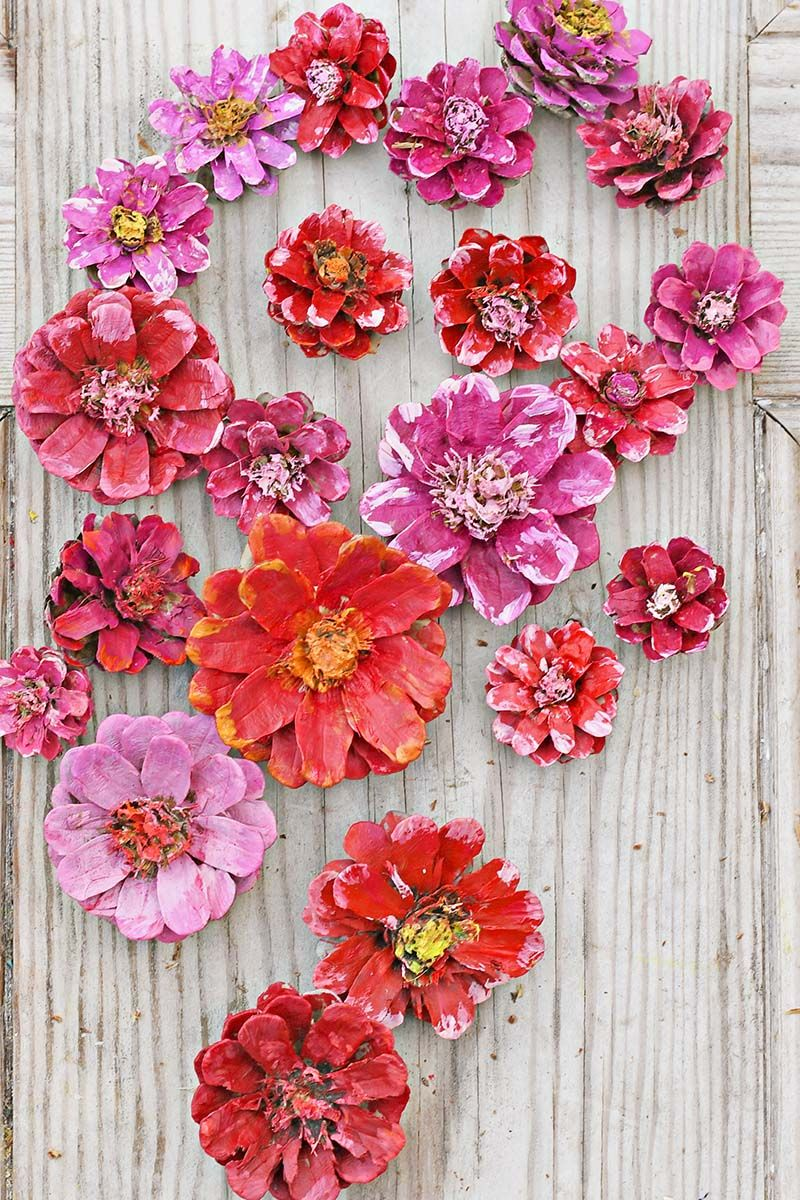 How To Make A Pinecone Flower Heart Decoration #pineconeflowers