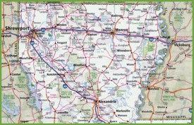 Map of Northern Louisiana | louisiana maps | Louisiana map, Map ...