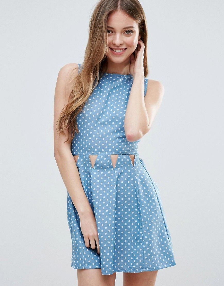 Madam Rage Polka Dot Chambray Dress - Blue  b699e9878