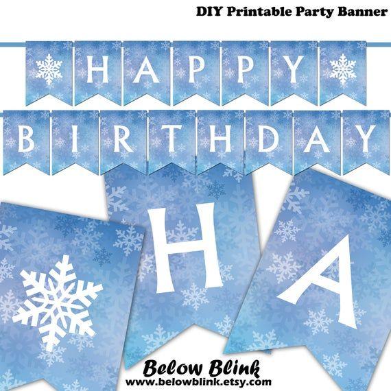frozen happy birthday banner printable banner winter