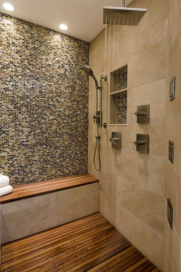 Teak shower bench shower seat ideas teak shower mat rain showerhead ...
