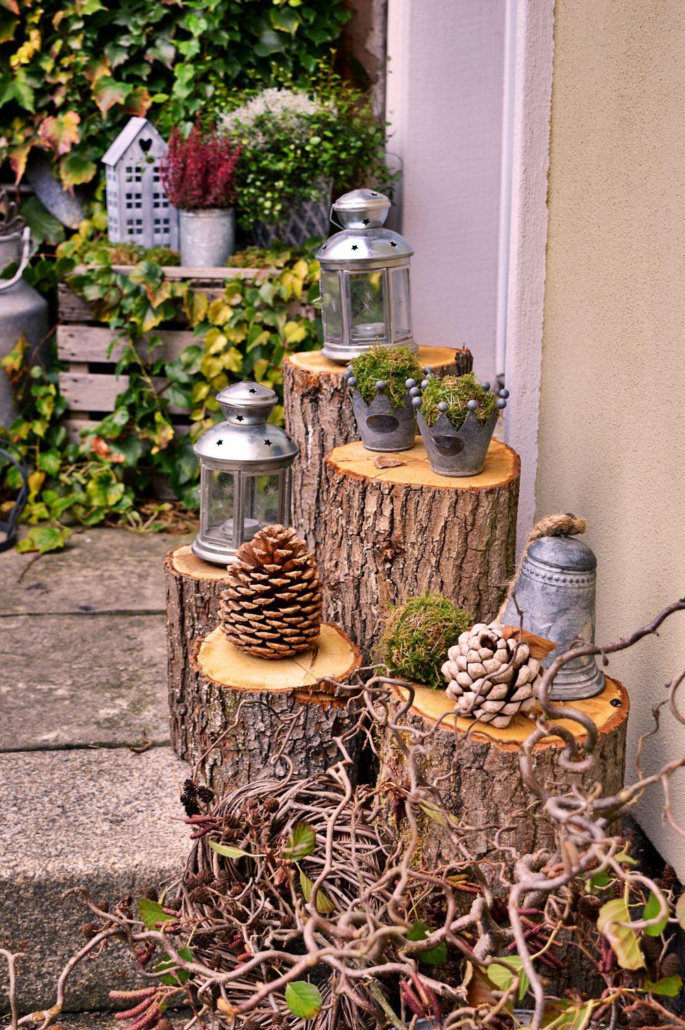 baumstamm laterne diy aus baumst mmen plant landscaping. Black Bedroom Furniture Sets. Home Design Ideas