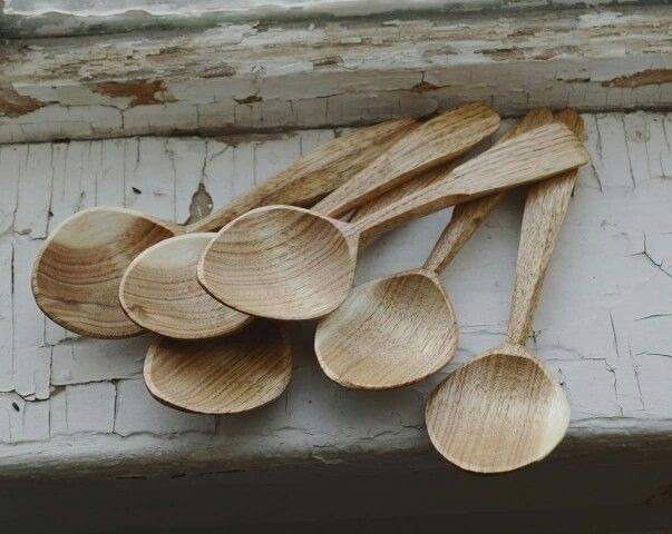Lovely pile of spoons hand carved from English walnut.