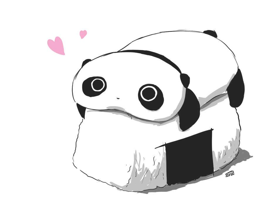Tare Panda On An Onigiri Wallpaper Kawaii Chibi